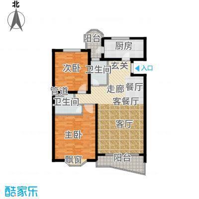 鸿发家园106.52㎡E户型2室2厅2卫1厨