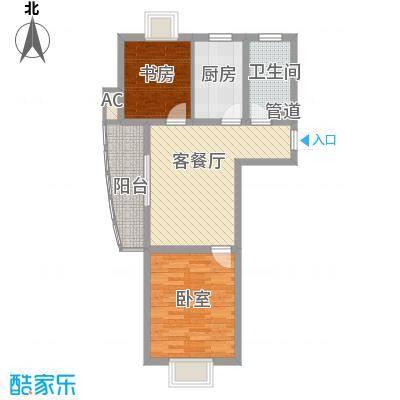 鑫都城云天绿洲80.00㎡上海户型2室1厅1卫1厨