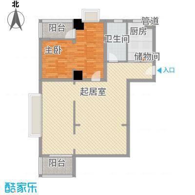 璞俪公馆124.11㎡1号楼A户型1室2厅1卫1厨