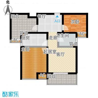 旭辉依云湾别墅88.00㎡2房户型2室2厅1卫1厨