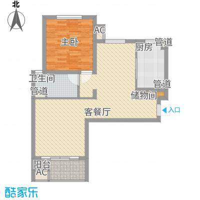 海尚佳园87.18㎡1680号04室图户型1室2厅1卫1厨
