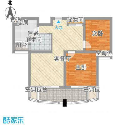 荣域飘鹰锦和花园91.00㎡D2户型2室2厅1卫1厨