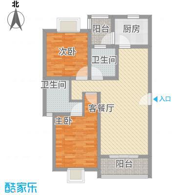 三岛龙州苑104.00㎡20号楼标准户型2室1厅2卫1厨