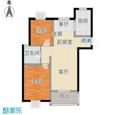汇丰沁苑95.00㎡D1户型2室2厅1卫1厨