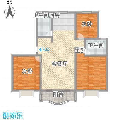 东方滨港园112.75㎡上海户型3室2厅2卫1厨
