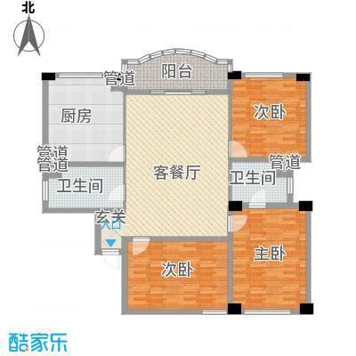 享域滨江172.46㎡E房型户型3室2厅2卫1厨