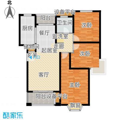 绿地崴廉公寓108.99㎡一期d2户型3室2厅1卫