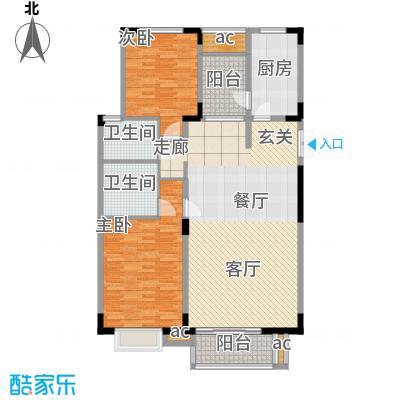 金桥湾清水苑124.31㎡上海金桥湾(中—南块)户型2室2厅2卫1厨