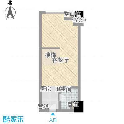 中茂世纪财富广场53.00㎡B户型一层户型2室1厅1卫1厨