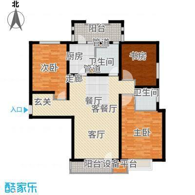 上海香溢花城142.30㎡1#A户型3室2厅2卫1厨