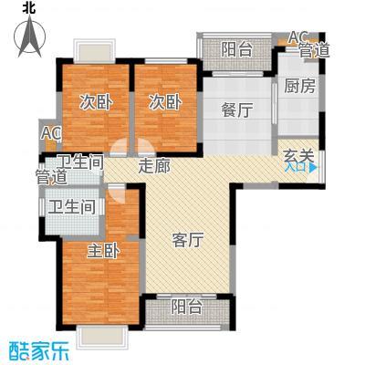 远雄徐汇园153.46㎡E户型3室2厅2卫1厨