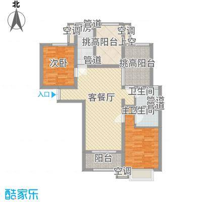 华府庄园106.59㎡22/23号楼A1户型2室2厅2卫1厨