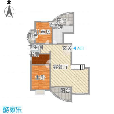 九城湖滨国际242.69㎡C型房顶层复式上层户型2室2厅1卫