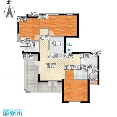 金铭文博水景111.54㎡3-6号楼D1户型3室2厅2卫1厨