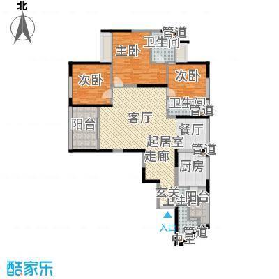皇都花园2期7号楼MC形户型3室2厅