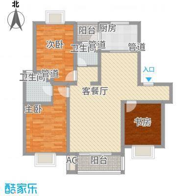 美兰湖颐景园123.75㎡美兰湖颐景园123.75㎡3室2厅2卫1厨户型3室2厅2卫1厨