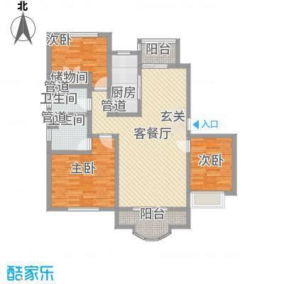圣卡洛铂庭127.76㎡气度三房户型3室2厅2卫1厨