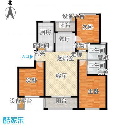 绿地崴廉公寓116.59㎡一期d6户型3室2厅2卫