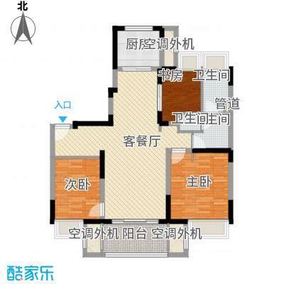 万科尚源119.00㎡119平中户二层户型3室2厅1卫1厨
