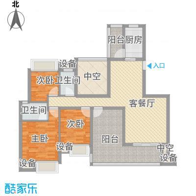 晶蓝上城135.00㎡E户型3室2厅2卫1厨