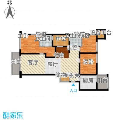 康桥半岛国际公寓135.95㎡D户型3室2厅2卫
