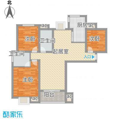 中宇花苑119.88㎡J户型3号楼1—24层户型3室2厅2卫1厨