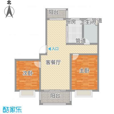 莲花河畔景苑102.85㎡D1户型2室2厅1卫1厨