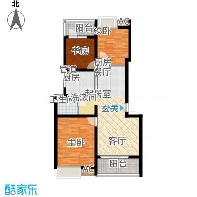 万科白马花园90.00㎡上海南都白马花园B-2a型户型3室2厅1卫