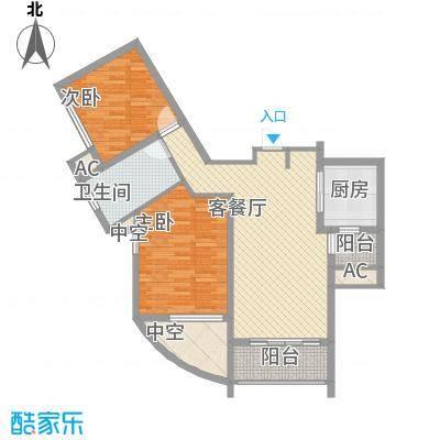 康桥水都107.00㎡上海户型2室2厅1卫1厨