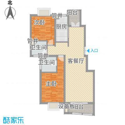 崇明新城明珠花苑115.00㎡F户型2室2厅2卫1厨