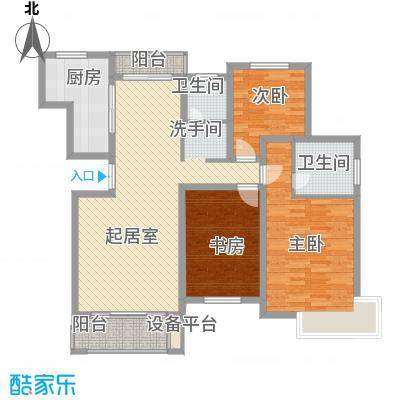 东苑新天地142.00㎡二期B型户型3室2厅2卫1厨