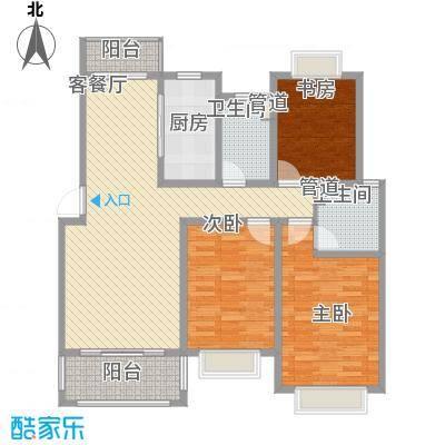 莲花河畔景苑127.00㎡B1户型3室2厅2卫1厨