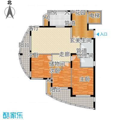 海洲桃花园153.00㎡户型图D户型3室2厅2卫1厨