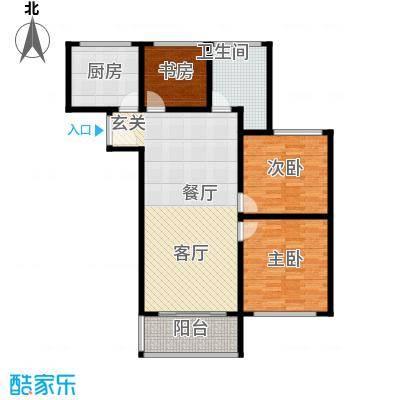 卢湾都市花园107.44㎡上海户型3室2厅1卫1厨