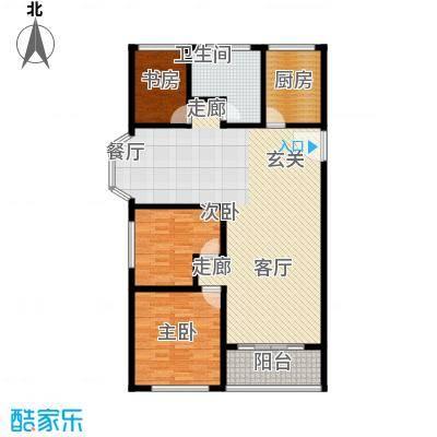 卢湾都市花园126.02㎡上海户型3室2厅1卫1厨