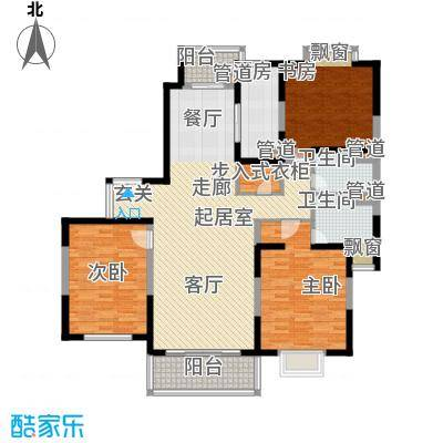 东鼎名门136.30㎡I户型3室2厅2卫1厨