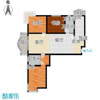 知音艺园132.00㎡知音艺园132.00㎡3室2厅2卫1厨户型3室2厅2卫1厨