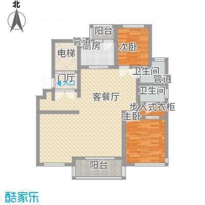绿地海珀璞晖125.00㎡125平3室2厅户型3室2厅1卫1厨