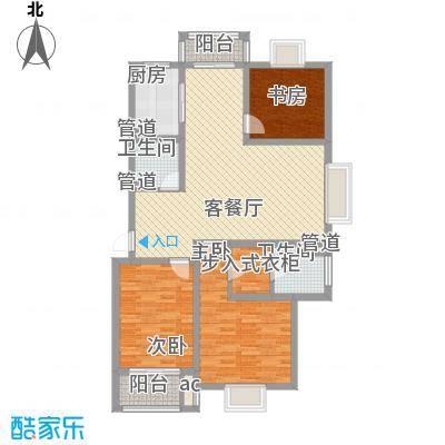 美兰湖颐景园126.87㎡美兰湖颐景园126.87㎡3室2厅2卫1厨户型3室2厅2卫1厨
