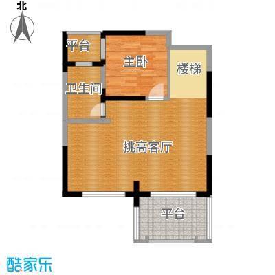 保利东湾72.90㎡四期7号楼8号楼标准层E2二层户型1室1卫