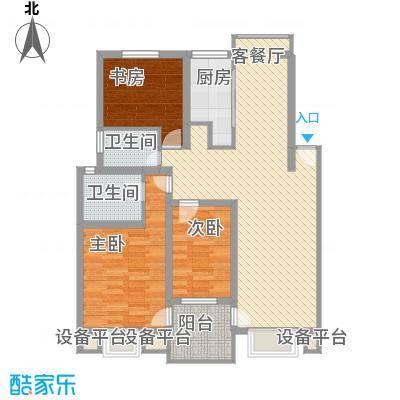 万兆家园莱茵风尚114.00㎡上海莱茵风尚户型3室2厅2卫1厨