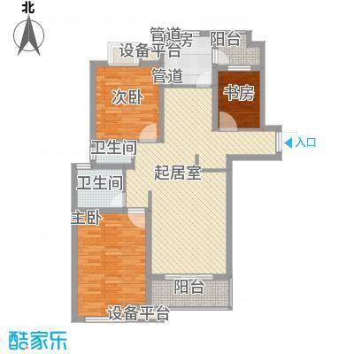 东苑新天地117.00㎡三期户型3室2厅2卫2厨