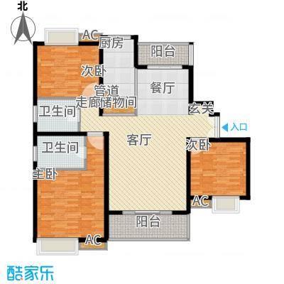 万源城乐斯生活会馆135.00㎡尊贵三房户型3室2厅2卫1厨