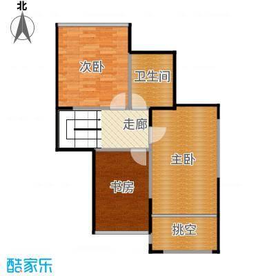 名城湖左岸89.00㎡A2二层装修示意图户型3室1卫