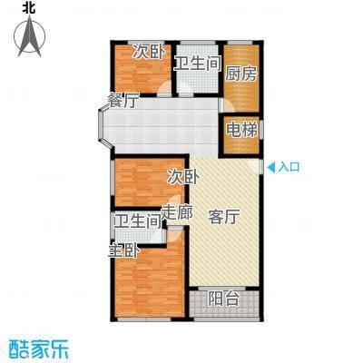 卢湾都市花园125.82㎡上海户型3室2厅2卫1厨