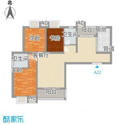逸流公寓134.79㎡D户型3室2厅2卫1厨