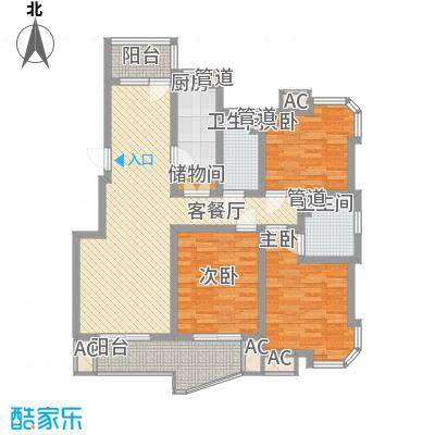 盛逸公寓128.50㎡上海户型3室2厅2卫1厨