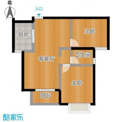 水印康庭86.00㎡户型2室1厅1卫1厨