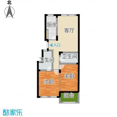 紫园88.00㎡户型2室1厅2卫1厨