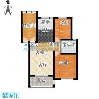 东冠逸家88.60㎡户型2室1厅1卫1厨